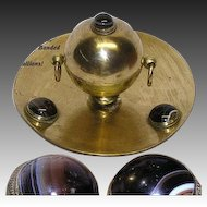 "Fine Antique Gilt Bronze 6"" Inkwell, Large Banded Agate Cabochon Accents"