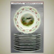 RARE Antique Set of 12 Hand Painted Fish Plates, Stunning Royal Austria