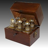 Antique Regency Era Perfume Casket, Decanter Box, SIX Gilt Baccarat Bottles