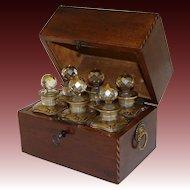 Antique Regency Era Perfume Casket, Decanter Box, SIX Gilt Baccarat Bottles