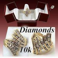 Vintage Estate 10K Gold & Diamond Cocktail Ring, 1.5 carat t.w.