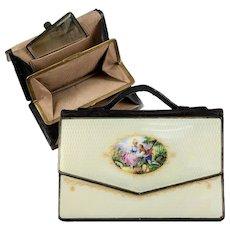 RARE Antique Viennese Kiln-fired Enamel & Leather Purse, Austrian Bag or Wallet