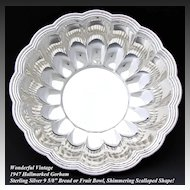 "Vintage Gorham 1947 Sterling Silver 9.5"" Serving Bowl, Scalloped Shape"