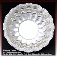 """Vintage Gorham Sterling Silver 9.5"""" Serving Bowl, Scallop Shape"""