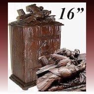 "Large Antique Victorian Era Black Forest 16"" Chest, Ferret & Bird Figures, ""Tresor"""