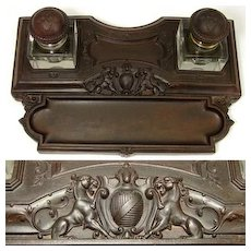 """Antique Gutta Percha 11.5"""" Double Inkwell, Armorial Crest & Lions!"""