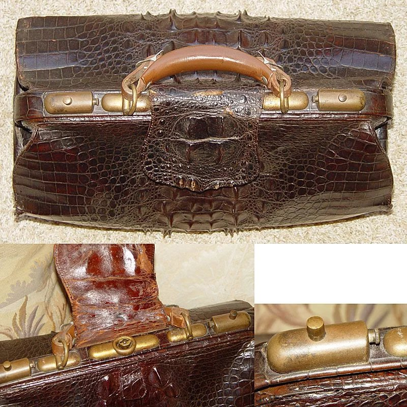 antique victorian 16 5 alligator satchel valise large hornback antiques uncommon treasure. Black Bedroom Furniture Sets. Home Design Ideas