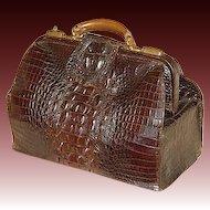 """Antique Victorian 16.5"""" Alligator Satchel, Valise, Large Hornback Scales"""