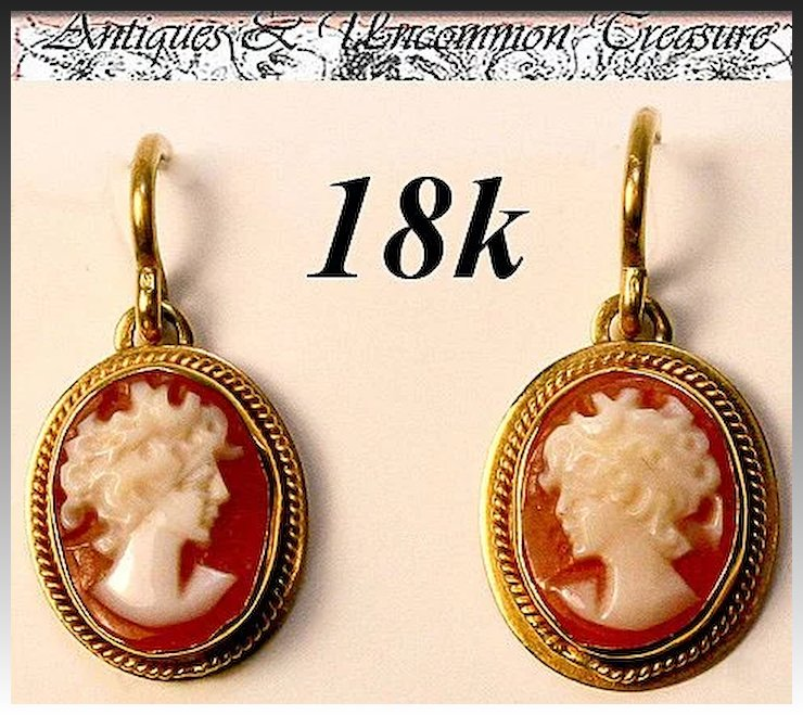 Fine Vintage 18k Gold S Cameo Earrings Pair Silhouette
