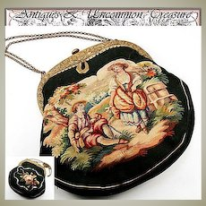 Antique c. 1880-1920s French Aubusson Needlepoint Hand Bag, Purse, Romantic