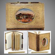 Antique French Souvenir Aide d' Memoire, NoteBook - Eglomise of the Paris Stock Exchange  (Bourse)