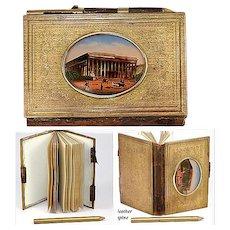 Antique French Souvenir Aide d' Memoire, NoteBook - Eglomise of the Paris Stock Exchange  (Bourse)
