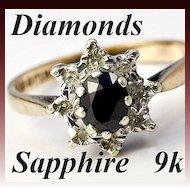 Lovely Vintage English 9k Gold, Sapphire & Diamond Ring