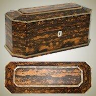 "Beautiful Antique Victorian Era 13.25"" Coromandel & Mother of Pearl Tea Caddy, Jewelry Chest Conversion"