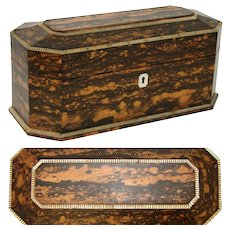 "Beautiful Antique Victorian Era 13.25"" Coromandel & Mother of Pearl Tea Caddy, Jewelry Chest Conversion"