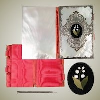 Antique French or Italian Carnet du Bal, Dance Card, Necessaire, MOP and Pietra Dura, Silver