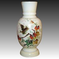 """Charming Antique Victorian Era Opaline 11"""" Vase, Hand Painted Bird & Foliage"""