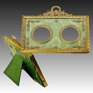 Antique French Dore Bronze Photo or Miniature Portrait Frame, Double, Silk Mat