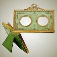 Antique French Dore Bronze Photo or Miniature Portrait Frame, Double, Silk Mat
