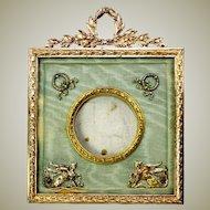 Antique French Dore Bronze Photo or Miniature Portrait Frame, Sphynx Appliques,Silk Mat