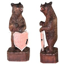 "Vintage Hand Carved 14.5"" Tall Black Forest Bear Menu Stand or Household Crest Bearer"