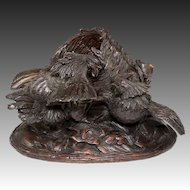 Super Mid-1800s Carved Wood Black Forest Sculpture, Cock Fight with Basket, Cigar or Cache Pot