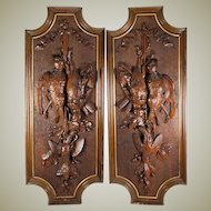"Superb Pair Antique Black Forest Carved Game Bird Plaques, 29"" x 11.5"", Exellent, 6 birds, Acorn & Oak Leaf"