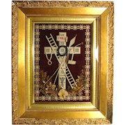 "Rare Antique French 19.5"" Gilt Framed Punchwork Reliquary, Crucifix, Sealed Back w/ Script Description"