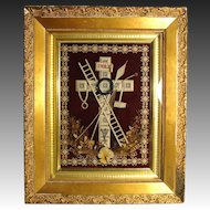 "Rare Antique French 19.5"" Gilt Framed Punchwork Reliquary, Crucifix, Sealed Back w/ Script Description"
