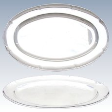 "Elegant Vintage French Sterling Silver 18"" x 11.75"" Oval Serving Tray, 1134gm"
