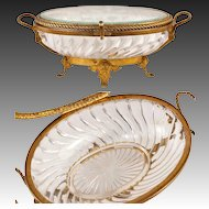 Antique Elaborate and Large Signed Baccarat Jewelry Casket, Box, Dore Bronze & Crystal
