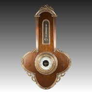 "Antique French 18.5"" Tall Wall Barometer, Wood and Dore Bronze Casement, Empire"