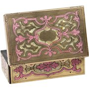 RARE Antique French Pink Boulle Wax Seal Box, Etui, and Mother of Pearl Seal