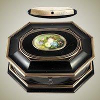 Superb Antique TAHAN, Paris Jewelry Box, Casket with Miniature Painting, c.1840