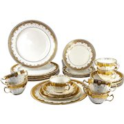 Tiffany & Co Set 24pc + Minton Luncheon, Dessert,, Cream Soup or Boullion Set. Encrusted Gold