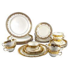 Tiffany & Co Set 24pc + Minton Luncheon, Dessert,, Cream Soup or Boullion Set. Encrusted Gold