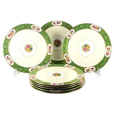 Tiffany Plates - Set of 8 Antique English China Plates, c. 1910, Floral Cartouche & Green