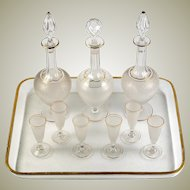 Antique French Liqueur Service, St. Louis - 3 Decanters, 6 Cordials, Stems, Tray