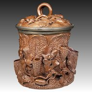 Fab Antique French Pottery Smoker's Jar, Large and with Acorns, Vines - Hand Made