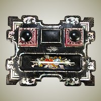 Antique Victorian Papier Mache Double Inkwell Desk Stand, Pen Tray, Mother of Pearl Inlays