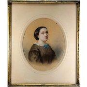 Antique French Original Painting, Portrait c. 1860 Woman. Pastels in Lemon-Gilt Frame #1