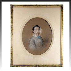 Antique French Original Painting, Portrait c. 1860 Woman. Pastels in Lemon-Gilt Frame #2