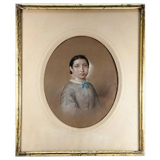 Antique French Original Painting, Portrait c. 1860 Woman. Pastels in Lemon-Gilt Frame #2