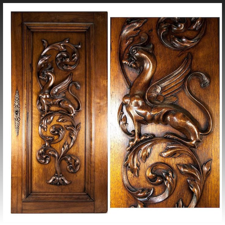 Hand Carved Antique Griffen Cabinet Door Wall Plaque Acanthus