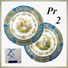 "Antique French Pair 9.75"" Cabinet Plates, Old Paris, Raised Gold & Hand Painted Romantic Era Scenes"