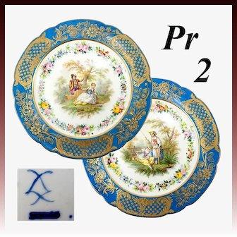 "Antique French Pair 9.75"" Cabinet Plates, Old Paris, Raised Gold & Hand Painted Romantic Era Scenes"