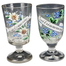 "Two Antique Bohemian Alpine Enameled Glass Wine Goblets, 5.25"" Tall"