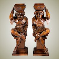 Antique Pair of Hand Carved Wood Figures, Great as Candle Stands or Cabinet Supports, Drill & Make into Lamps!