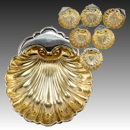 Set of 6: Fine Gorham Sterling Silver 18k Gold Vermeil Scallop Shell Butter Pat or Nut Cups, Six