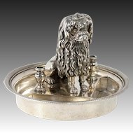 RARE Antique French Poodle Inkwell, Ink Well, Pen Stand, Silver Plate on Bronze